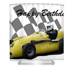 Racing Car Birthday Card 4 Shower Curtain