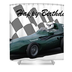 Racing Car Birthday Card 5 Shower Curtain by John Colley