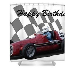 Racing Car Birthday Card 6 Shower Curtain by John Colley