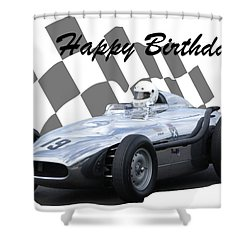 Racing Car Birthday Card 7 Shower Curtain by John Colley