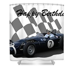 Racing Car Birthday Card 8 Shower Curtain by John Colley