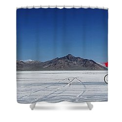 Racing On The Bonneville Salt Flats Shower Curtain