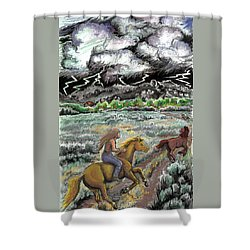 Shower Curtain featuring the drawing Racing The Lightning Home by Dawn Senior-Trask