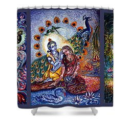 Radha Krishna Cosmic Leela Shower Curtain by Harsh Malik