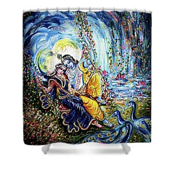 Radha Krishna Jhoola Leela Shower Curtain by Harsh Malik