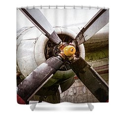 Shower Curtain featuring the photograph Radial Engine And Prop - Fairchild C-119 Flying Boxcar by Gary Heller