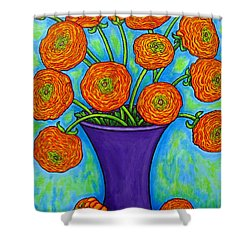 Radiant Ranunculus Shower Curtain by Lisa  Lorenz