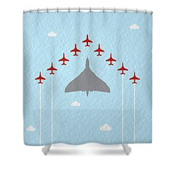 Raf Red Arrows In Formation With Vulcan Bomber Shower Curtain