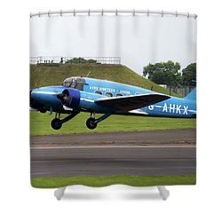 Raf Scampton 2017 - Avro Anson Nineteen During Take Off Shower Curtain