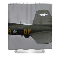 Raf Scampton 2017 - B-17 Flying Fortress Sally B Smoke Shower Curtain