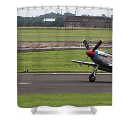 Raf Scampton 2017 - P-51 Mustang Landing Shower Curtain