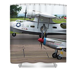 Raf Scampton 2017 - P-51 Mustang With Pby-5a Landing Shower Curtain