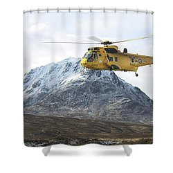 Raf Sea King - Sar Shower Curtain by Pat Speirs