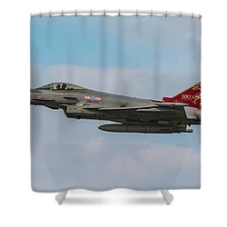 Raf Typhoon In Flight At Uk Airshow Shower Curtain