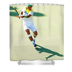 Rafael Nadal Shadow Play Shower Curtain by Steven Sparks