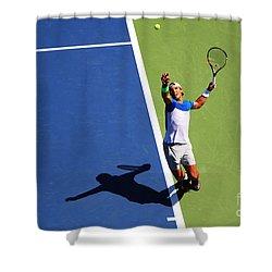 Rafeal Nadal Tennis Serve Shower Curtain by Nishanth Gopinathan