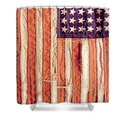 Ragged American Flag Shower Curtain by Jill Battaglia