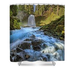 Raging Sahalie Falls Shower Curtain by David Gn
