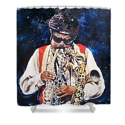 Rahsaan Roland Kirk- Jazz Shower Curtain by Sigrid Tune