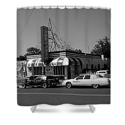 Shower Curtain featuring the photograph Raifords Disco Memphis A Bw by Mark Czerniec