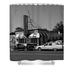 Shower Curtain featuring the photograph Raifords Disco Memphis A Bw by Mark Czerniec