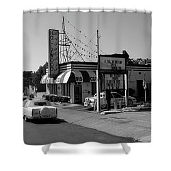 Shower Curtain featuring the photograph Raifords Disco Memphis B Bw by Mark Czerniec