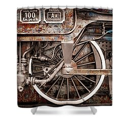 Rail Wheel Grunge Detail,  Steam Locomotive 06 Shower Curtain