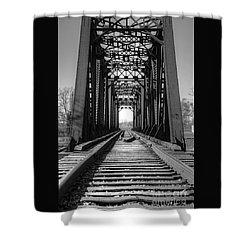 Railroad Bridge Black And White Shower Curtain