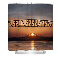 Railroad Bridge Framing The Bourne Bridge During A Sunrise Shower Curtain