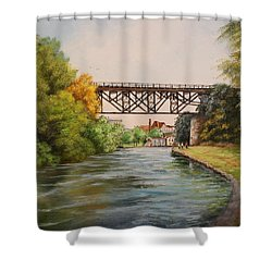 Railroad Bridge Over Erie Canal Shower Curtain