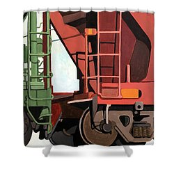 Railroad Cars - Realistic Train Oil Painting Shower Curtain