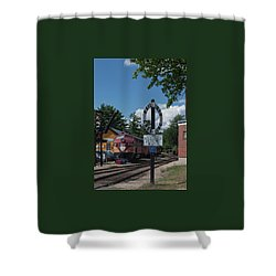 Railroad Crossing Shower Curtain by Suzanne Gaff