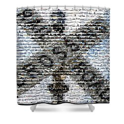 Shower Curtain featuring the mixed media Railroad Crossing Trains Mosaic by Paul Van Scott