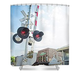 Shower Curtain featuring the photograph Railroad Lights In Old Town Helena by Parker Cunningham