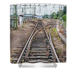 Shower Curtain featuring the photograph Railroad Tracks And Junctions by Antony McAulay