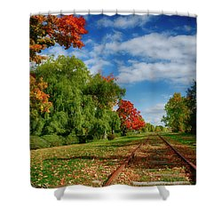 Railroad Tracks At Grand-pre National Historic Site Shower Curtain by Ken Morris