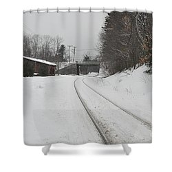 Shower Curtain featuring the photograph Rails In Snow by John Black