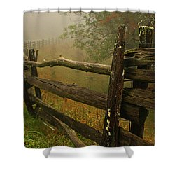 Rails Of Time Shower Curtain by Dale R Carlson