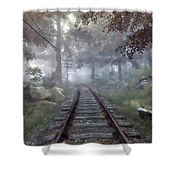 Shower Curtain featuring the digital art Rails To A Forgotten Place by Kai Saarto