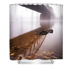Railway Bridge During Foggy Morning In Prague, Czech Republic Shower Curtain