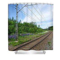 Shower Curtain featuring the photograph Railway In A Summer Landscape by Kennerth and Birgitta Kullman