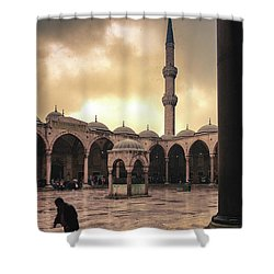 Rain At The Blue Mosque Shower Curtain by Marji Lang