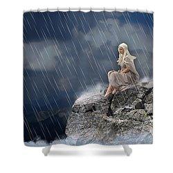 Shower Curtain featuring the mixed media Liquid Rain by Marvin Blaine