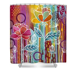 Shower Curtain featuring the painting Raindrops  by Carla Bank