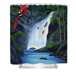 Rain Forest Macaws Shower Curtain by Stanton Allaben