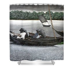 Rain In Bangladesh- An Acrylic Painting Shower Curtain by Fahad Hossain