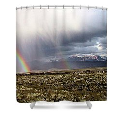 Shower Curtain featuring the painting Rain In The Desert by Dennis Ciscel