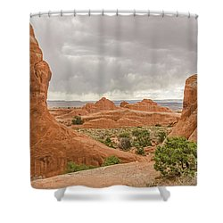 Shower Curtain featuring the photograph Rain In The Distance At Arches by Sue Smith