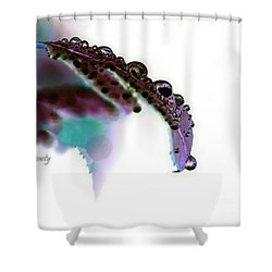Rain On Rose Leaf Abstract Shower Curtain