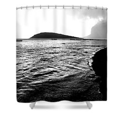 Shower Curtain featuring the photograph Rain On Sea And Shore by Julian Cook